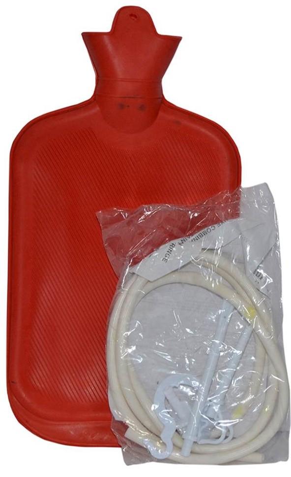 Rubber hot-water bottle.